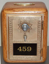 Oak Post Office Box Door Bank With Brass Slot