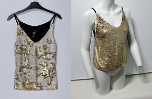 Atmosphere Women's 2 tone sequin cami top Shiny Sparkly Gold White Black UK 8