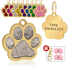 Custom Dog Tag Engraved Glitter Paw Pet ID Tags Personalized for Collar 8 Colors