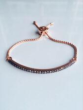 Crystal Glass Pave Black Bar Rose Gold Slider Bracelet Adjustable Drawstring