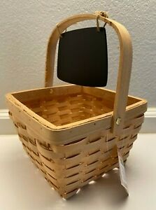 "NWT Ashland Wicker Square Basket With Chalk Board 7.5"" x 7.5"" x 11"""