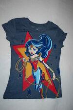 Girls S/S Tee Shirt Super Hero Girls Blue Heathered Wonder Woman Glitter L 12-14
