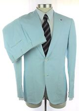 New ISAIA Gregory White Light Blue Seeksucker 2Btn Flat Front Suit 50 40 40R NWT