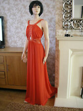 24 VERY DEFINITIONS RED MAXI DRESS GOLD BEAD CUT OUT WEDDING CRUISE PARTY