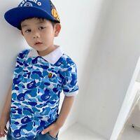 2020 Kids Boy Blue & Pink Camo Monkey Head Cartoon T-Shirt Tops Summer Tee Shirt
