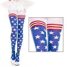 Sheer USA Flag Stars & Stripes Design Pantyhose Tights Retro American Pinup OS