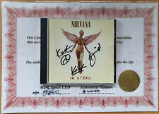 More details for genuine nirvana signed cd & certificate kurt cobain dave grohl krist autograph
