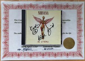 Genuine Nirvana Signed CD & Certificate Kurt Cobain Dave Grohl Krist Autograph