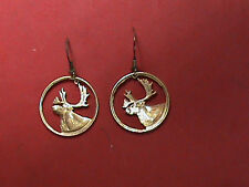 Hand Cut Canada Quarter Gold Plated Made Into Earrings