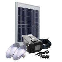Solar Panel Kit 10W/12V, Lithium Battery 4Ah, 2 LED Lamps, USB adapter