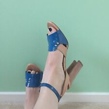 "Sigerson Morrison Tan Blue Patent Leather Strappy Sandals Block Heels 7 4"" Xmas"