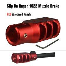 NEW RED Slip On Ruger 1022 10 22 Muzzle Brake Tanker Style