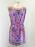 Ann Taylor Loft Vibrant Floral Cinched Dress Size S Casual Summer Pink Purple