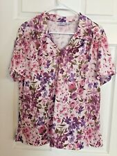 WOMEN'S TOP PURPLE FLOWERS ON WHITE BACKGROUND SIZE LARGE POLYESTER KNIT