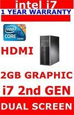 HP 8200  i7  2nd Gen COMPUTER PC @3.40ghz 8GB RAM 2GB GRAPHIC HDMI DUAL SCREEN