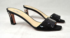 Prada Raso Paillettes Sequin Slides Heels Shoes Sandals Womens 37.5 Italy