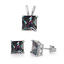 Rainbow Colored Cz .925 Sterling Silver Earrings and Pendant Set