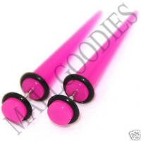 0375 Fake Cheaters Faux Illusion Ear Stretcher Tapers Plugs 2G Dark Hot Pink 6mm
