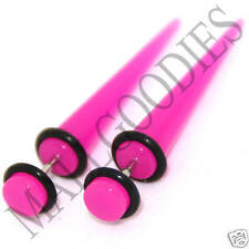 0375 Fake Cheaters Faux Illusion Ear Stretchers Tapers Plugs 2G Dark Hot Pink