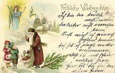 Santa Claus Giving Presents to Children and an Angel, old litho postcard