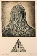 SAINT GEORGE Original etching by Leonid STROGANOV, Russian Ex Libris Artist genr