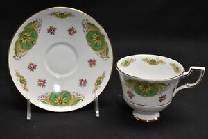 Tuscan Cup & Saucer D2562 Green Gold Pink Roses
