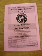 07/04/2002 Birmingham Sunday Youth Cup Final: London Road Lions Youth v Wordsley