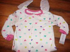 NEW Carters girls size 2T pretty colorful glitter heart sleeper NWT fleece
