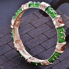 Statement Charm Gold Filled Deep Green Enamel bangle charms bracelet