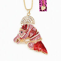 Betsey Johnson Women's Enamel Crystal War Horse Head Pendant Chain Necklace