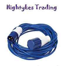 240V 14mtr Extension Cable Lead 16 Amp 1.5mm caravan camper Hook Up blue