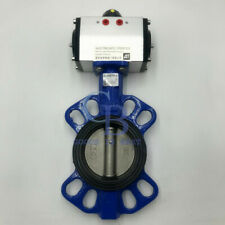 3 Dn80 Double Acting Pneumatic Butterfly Valve Wafer Type Epdm Sealing