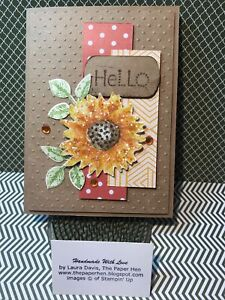 Handmade Card HELLO : SUNFLOWER PAINTED HARVEST Stampin Up ~The Paper Hen
