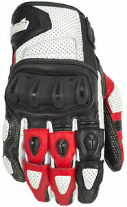Cortech Mens White/Red Impulse St Motorcycle Gloves