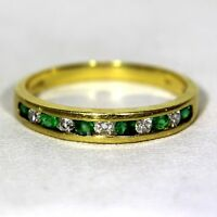 Quality Natural Emerald & Diamond 18ct Yellow Gold Half Eternity ring N ~ 6 3/4