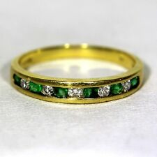 Quality Natural Emerald & Diamond 18ct Yellow Gold Half Eternity ring N ~ 6 3/4
