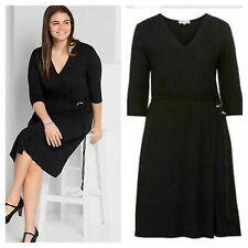 Sheego @ Curvissa Plus Sz 26 Black Jersey Flattering Elasticated Waist DRESS £59