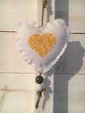 Fabric Shabby Chic Hanging Heart Nursery Mustard Yellow White Door Hanger X 1