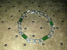 HUGE SILVER BRACELET with JADE MARKED 835 A&D WEIGHT 20.7 G.