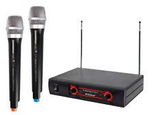 Kit microfoni wireless ricevitore UHF radiomicrofoni 2 canali karaoke KIT-MIC02