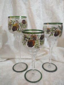 Set of 3 Pinecone Crackle Glass Votive Holders - EUC