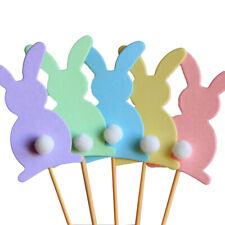 KM_ 5Pcs Happy Easter Rabbit Bunny Stick Ornament Festival Party Decoration