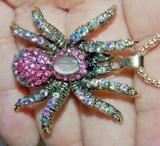 Fabulous Pink Rhinestone Spider Necklace Gold Metal Totem Animal Spirit Cat Eye