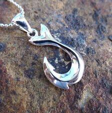 Hawaiian Genuine 925 Sterling Silver Hawaii Fish Hook Pendant Necklace #SP58801