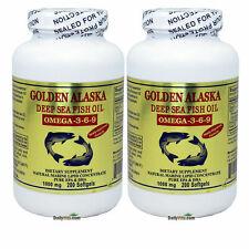 2 x 200SG Golden Alaska Deep Sea Fish Oil Omega-3-6-9, EPA DHA FRESH MADE IN USA