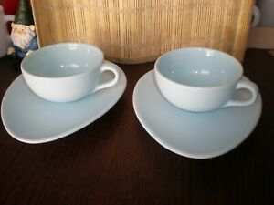 Set 2 NIGELLA LAWSON LIVING KITCHEN Robin Egg Blue Cappuccino Cups And Saucers
