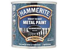 Hammerite - Direct to Rust Hammered Finish Metal Paint Black 250ml