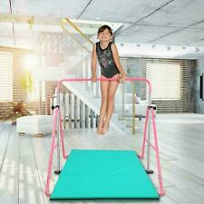 Adjustable Junior Kip Bar 3'- 5' Gymnastics Horizontal Bar for Kids Home, Pink