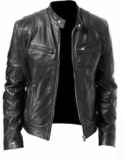 NEW MEN'S VINTAGE CAFE RACER BLACK BROWN RETRO BIKER LEATHER JACKET GENUINE