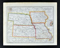 1896 Mathews Northrup Map Nebraska Iowa Kansas Missouri St. Louis Omaha Topeka